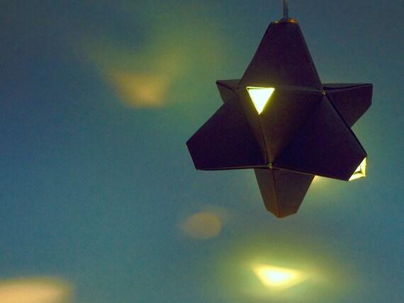 Paper Origami Lamp. Dark Grey and Aqua. 24 sides. (Polyhedra Luminaria Series)