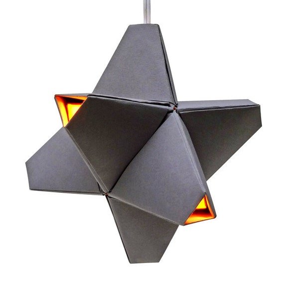 Paper Origami Lamp. Light Grey and Yellow. 24 sides. (Polyhedra Luminaria Series)