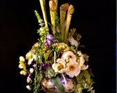 Floral arrangement: Pitcher Plants and Pearls in a porcelain and brass vase--- Free Shipping in the USA
