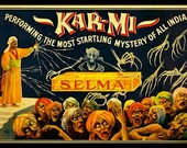 "TruGiclee print of Vintage 1914 Theatrical Lithograph Poster  Kar-Mi the Magician, Selma in Box 11"" x 14"""