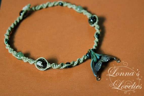 Whale watching hemp necklace with hand blown glass pendant, jade, wood and glass dichroic beads.