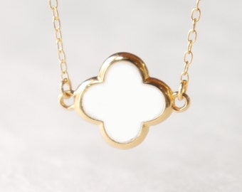 White four leaf clover necklace- delicate 14k gold filled chain- modern minimalist jewelry for everyday by noa noa