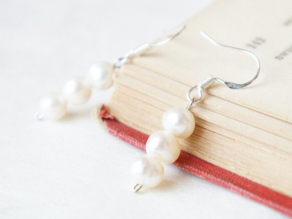 Trio freshwater pearl earrings-  Sterling Silver earwires- modern minimalist jewelry for everyday