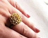 Light Brown Dahlias Blossom Brass Adjustable Ring