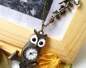 Sale (Limited Time) - Antique Brass Lovely Owl Usable Pocket Watch with Clear Faceted Bead and Branch Pendants Necklace