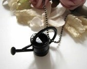 Gunmetal Black Plated Gardener Watering Can Pendant Necklace
