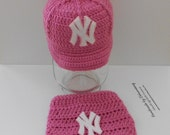 PINK Baby Girl Baseball Team Sports Cap, Hat, Beanie and Diaper Set, Choose your team