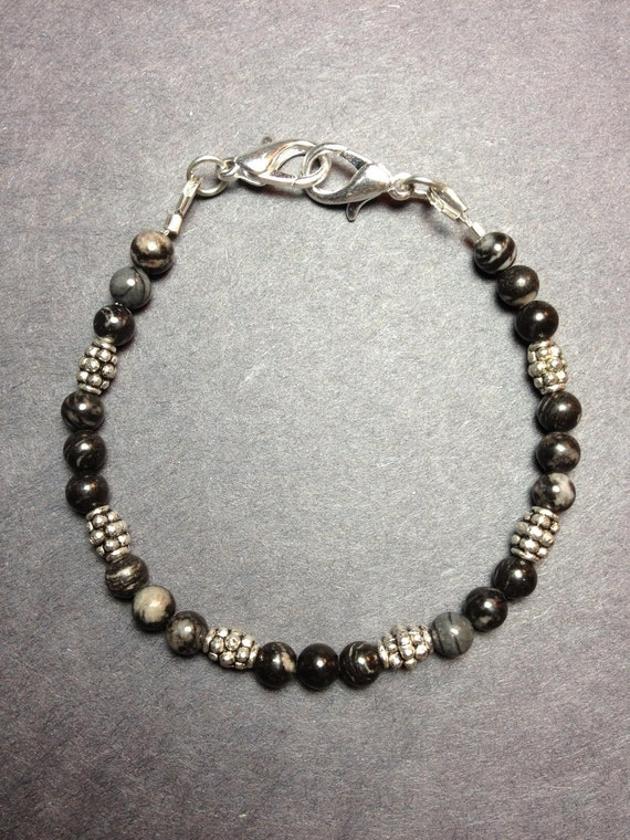Beaded Bracelet with Black Silk Stone and Bali-style Beads, Custom Sized to Order as Medical ID Replacement or Standard Bracelet