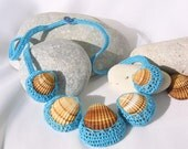 Summer turquoise necklace, seashell, crochet