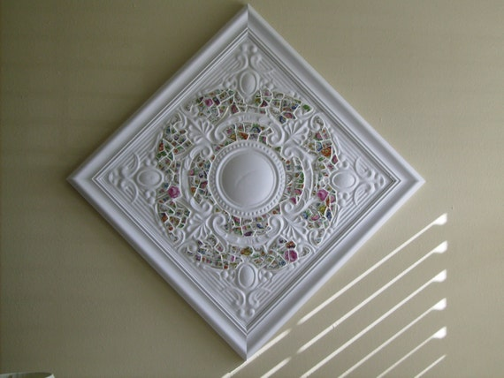 Antique Tin Ceiling Tile Wall Art with China Mosaic