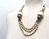 Vintage Faux Ivory Necklace with Carved Bone and Metal Beads - Ethnic Tribal style -  Indian African - Boho Chic