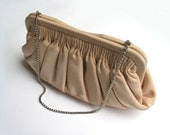 Vintage silk fabbric pochette - evening  clutch - 1960s - sixties - 60s