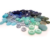 Large Lot of Blue and Green Vintage Buttons - Old Destash Lots of Variety Textures and Styles - Assorted Mixed 100 Plus