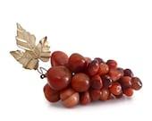 Vintage Carved Carnelian Grape Cluster with Brass Leaf - Semi Prescious Stones - 1960s