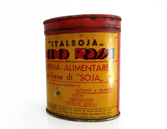 Vintage Italian Soy Flour Tin Box - Red and Yellow Can - Breastfed and Baby Meal Metal Container - 1940s
