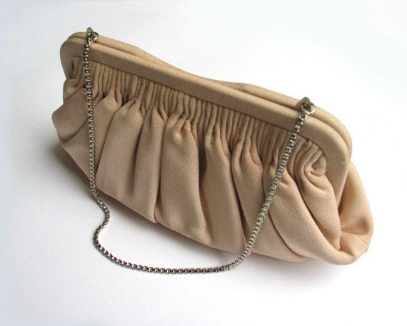 Vintage silk fabbric pochette - evening  clutch - 1960s - sixties - 60s