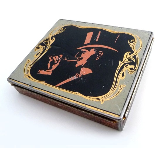 Vintage Cigarette Tin Box - Retro Advertising Metal Collection Box with Hinge Lid - Tobacco Case - 1960s
