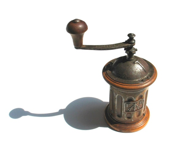 RESERVED for Tyler - Antique  Coffee Grinder, Made in Italy - Retro metal wooden - 1930s 30s