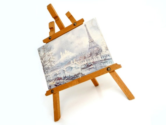 Vintage French Souvenir - Mini Wood Easel with Paris Landscape Painting - Eiffel Tower and Sein - Collectible