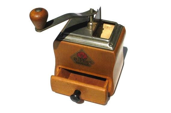 Vintage Coffee Grinder, Made in Germany - Retro metal wooden - 1950s 50s