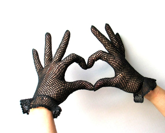 Vintage Italian Black Crocheted Gloves - 1960s 60s