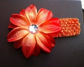 1.5 in Infant Girl Toddler Headband with 4.5 in Flower Hair Clip Orange