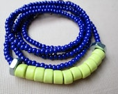 "Mykonos Bead Necklace Navy Blue and Yellow ""Stephanos"""
