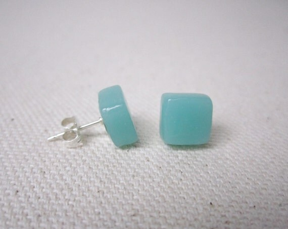 Recycled Glass Earrings Light Teal Sterling Silver