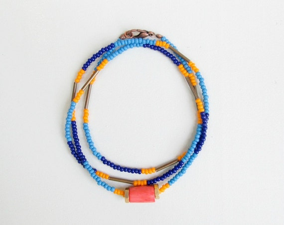 Seed Bead Necklace King Snake Navy Periwinkle and Orange