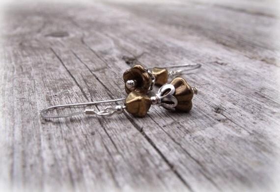 Bronze and Sterling Silver Earrings Dainty Minimalist Western Southwestern Dangle