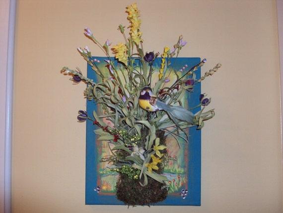 Art, Floral Arrangement, Field Flowers with Bird