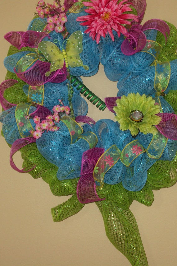 Summer Mesh Wreath, Poly Mesh Wreath, with Mesh Ribbon, Turquoise and Lime Green Poly Mesh