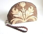 Makeup Cosmetic Pouch , Bag Zipper Makeup Pouch, Travel pouch, bag Brown Wristlet