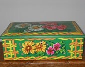 Vintage tin box from France with flower design