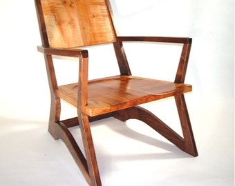 Modern Wood Chair, walnut and maple