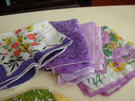 Large Lot of 8 Shades of Purple Vintage Hankies-Crafting-Quilting-Curtains