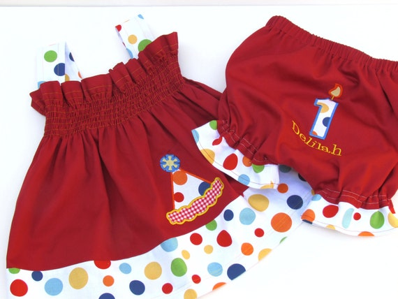 Birthday Bloomers Birthday Candle Appliqued Red with Lolli Dot Polka Dots Monogrammed