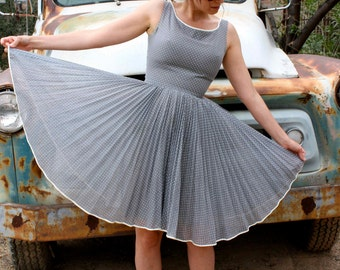 1950s or 1960s Prom Dress, Grey with White Polka Dots, by Miss Elliette of California