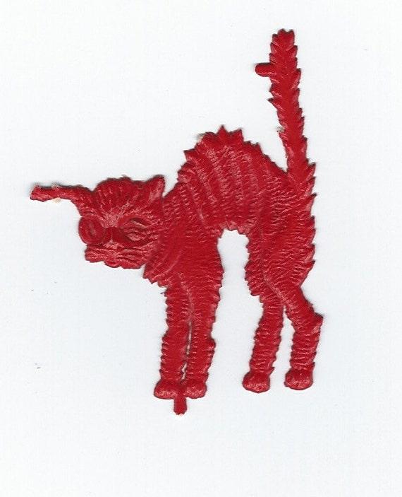 Vintage Halloween Red Winking Embossed Halloween Alley Cat German Scrap