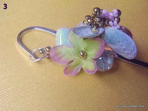 Handmade Bookmark Silver Plated, Pansy Flower, Rare Baby Blue Minnie Paua Shell, Gift  Annerversary Womens