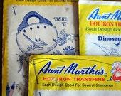 Aunt Martha's Hot Iron Transfers - 3 iron on transfers - mushrooms, dinosaurs, bermuda
