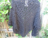 jet black hand knit shawl.( made to order)