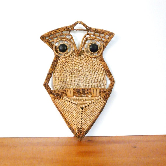 bohemian owl wall hanging, retro owl, vintage home decor, kitsch, woodland, owls, rattan