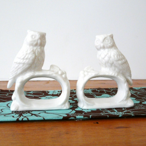 ceramic owl napkin rings, vintage dining room, tableware, white, owls, french, cottage, chic, classic, entertaining, napkin ring