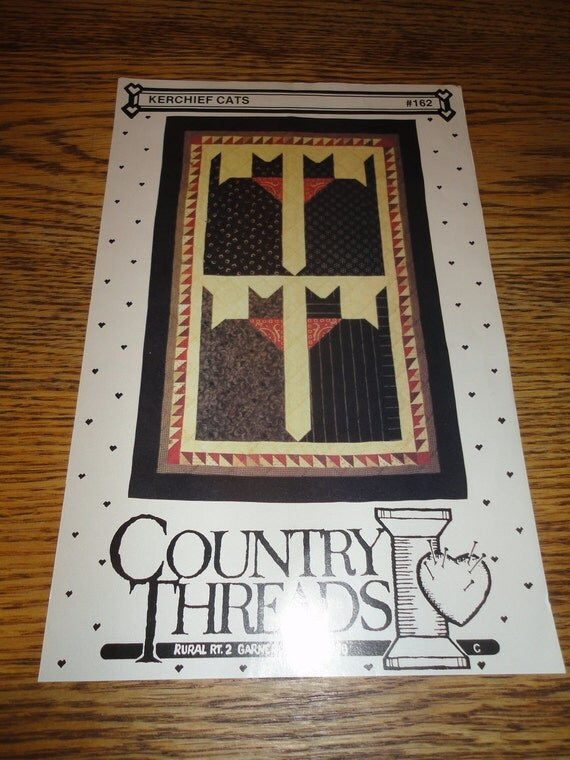 Country Threads Kerchief Cats pattern REG Price 5.00 SALE Price 3.00