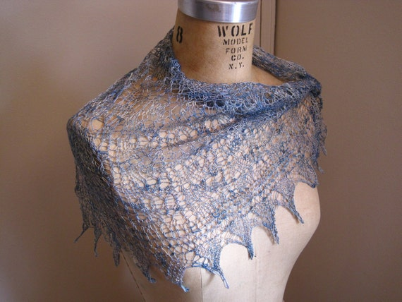 Silver Handpainted Silk Lace Scarf