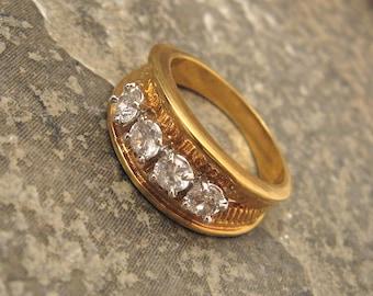 Rhinestone Ring Band Vintage Mens H026