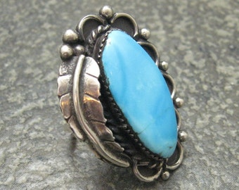 Huge Turquoise Sterling Ring Southwestern Mens Vintage Jewelry H160