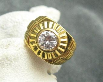 Vintage Sterling Ring Rhinestone Gilt Mens Jewelry H162