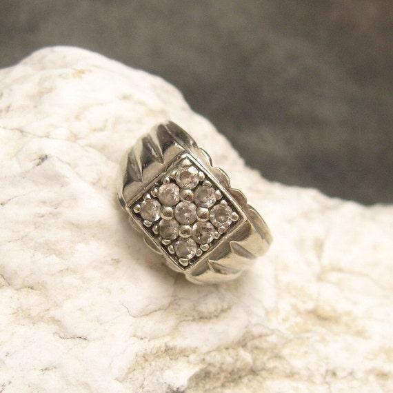Sterling Rhinestone Ring Mens H023